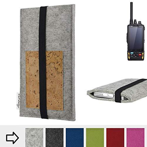 für Ruggear RG760 Handyhülle Case SINTRA mit Kartenfach (Natur) und Gummiband-Verschluss (schwarz) - passgenaue Smartphone Tasche Schutz Hülle aus 100% Wollfilz (hellgrau) für Ruggear RG760