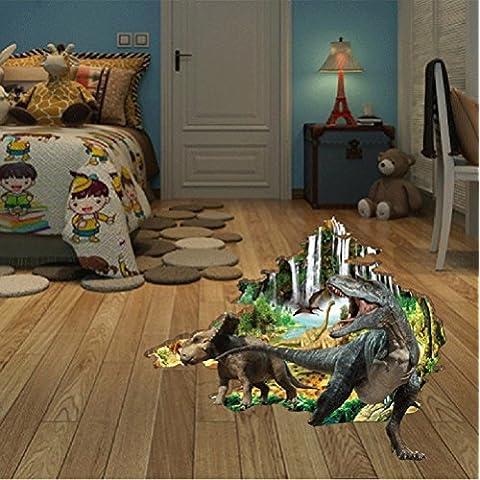GenialES 3D Dinosaurio Roto Agujero DIY Pegatinas de Pared para Decoración Arte Mural Sala de habitación Infantil 60 *