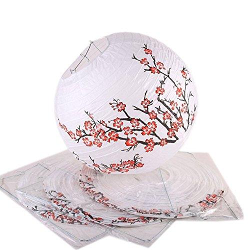 Lot de 4 LAMPIONS BOULES JAPONAIS - 30 cm de diamètre - Motif Fleurs de Cerisiers