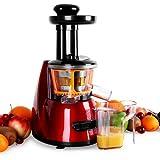 Klarstein Fruitpresso Bella Rossa Entsafter Saftpresse (Slow Juicer, 150 Watt, 70 U/min., Schneckenpresswerk, Vor-und Rücklauf, Auffangbehälter) rot