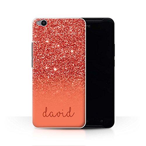 Stuff4® Personalisiert Individuell Glitter Effekt Hülle für HTC One X9 / Rot Design/Initiale/Name/Text Schutzhülle/Case/Etui
