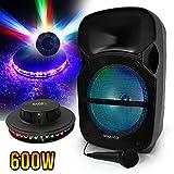 Enceinte Sono Karaoké à LEDs RVB 12'/31cm 600W - USB/BT/SD + Microphone + effet OVNI
