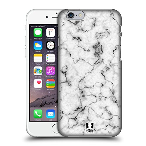 Head Case Designs Noir Empreintes De Marbre Étui Coque D'Arrière Rigide Pour Apple iPhone 5 / 5s / SE Blanc
