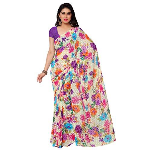 GL Sarees Casual Printed White Jacquard Floral Print Saree For Women