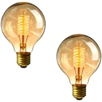 G80 Edison Screw Bulb 60w - Pack of 2 Dimmable Vintage Light Bulbs E27 Screw, Decorative Spiral Filament Bulbs Soft Warm White 2700K, by Brightfour