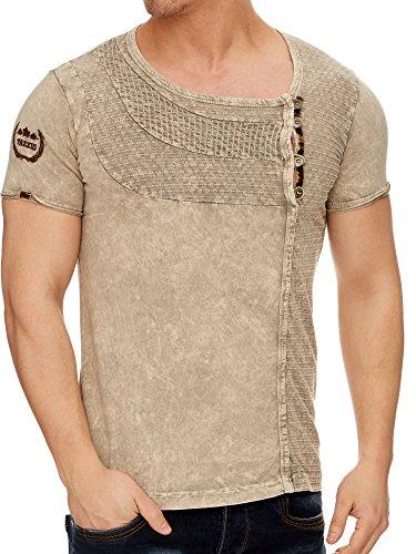 TAZZIO Stone Washed Rundhals T-Shirt mit Dufflecoatverschluss 16156 Stone