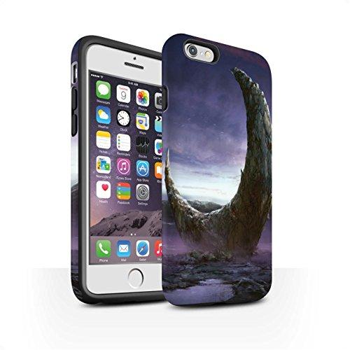 Offiziell Chris Cold Hülle / Matte Harten Stoßfest Case für Apple iPhone 6S / Pack 12pcs Muster / Fremden Welt Kosmos Kollektion Zerbrochenen Mond