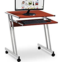 compact office desks. Computer Desk Z-Shaped With Sliding Keyboard Small Office PC Table Movable Brown Study Workstation Compact Desks