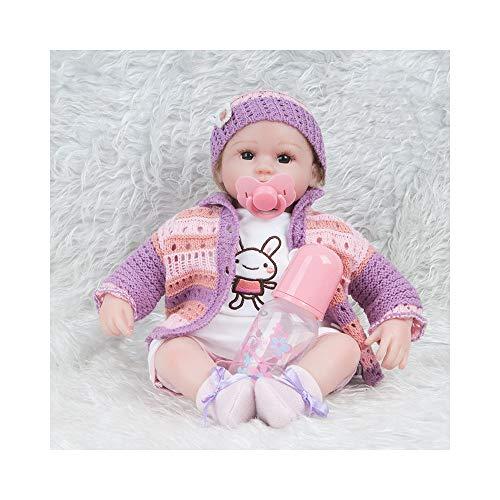 Mädchen Kostüm Marionetten - ADATEN Lieblich Wiedergeboren Baby Puppen Pflegen Puppe Handarbeit 45 cm groß Stoff Körper Weich Silikon Lebensecht Erwachsen Werden Partner Mit Schön Kostüm Mädchen Junge,C