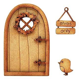 Festive Robin Fairy Tür. dreidimensionale Selbstmontage Kit Fairy Tür Craft Holz mit Holly Kranz, Robin &
