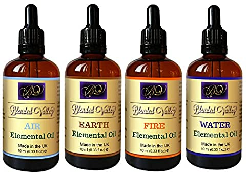Aromatherapy Elemental Gift Set - Fore Essential Oils Blends in Apricot Kernel Oil. For Relaxation, Yoga, Meditation. Use with Diffuser, Burner and Humidifiers or on Jewellery to Connect with Nature and Chakra Healing.