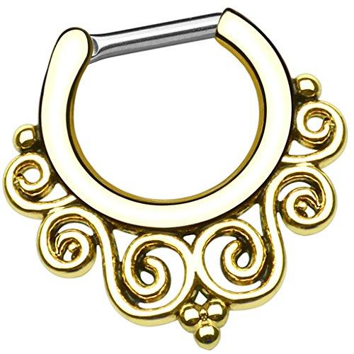 Piersando Piercing Scharnier Clicker Ring Tribal mit Perlen Ringe Spirale Vintage Septum Tragus Helix Ohr Nase Lippe Brust Intim Gold 1,2mm