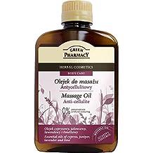 The Green Pharmacy, olio per massaggio anticellulite, aiuta a ridurre la cellulite e stimola il sistema linfatico, oli essenziali in ginepro, lavanda, cipresso, calce e mandorla, 200ml