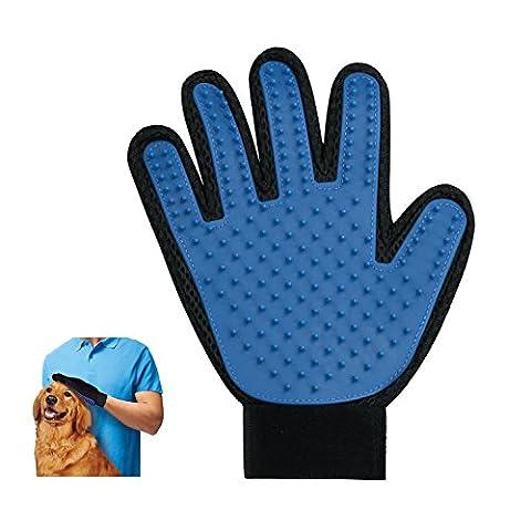 Pet Grooming Gentle Deshedding Brush Handschuh - Perfekt für Hunde Katzen mit Long & Short Pelz Effiziente Haustier Haar Remover Mitt - Massage-Tool mit erweiterten Five Finger Design (ein Paar für die linke und rechte Hand)