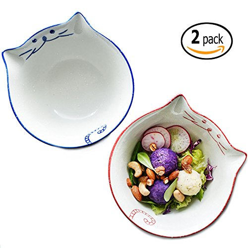 Keramik Schüssel Set–650ml Porzellan Schüssel, mikrowellengeeignet Schüssel für Müsli, Suppe, oder Pasta, Set 2, blau und pink von banfang - Gute Katze Katze Schüssel