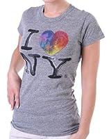 Junk Food Women's T Shirt I love NY Grey