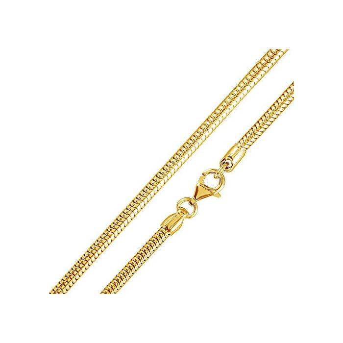 MATERIA 925 Silber Schlangenkette Gold - Damen Halskette Collier vergoldet 2,7mm in 40-80 cm + Box #K54