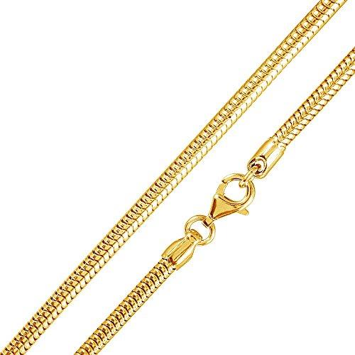 MATERIA 925 Silber Schlangenkette Gold - Damen Halskette Collier vergoldet 2,7mm in 40-80 cm + Box #K54, Länge Halskette:60 cm