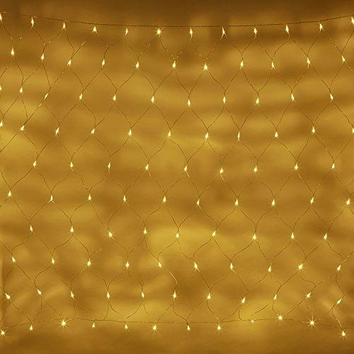 140er LED Lichternetz warmweiß 31V 2m x 1.5m koppelbar auf transparentem Kabel Lights4fun