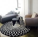 Stylish schwarz-weiß rundes Wohnzimmer Couchtisch großer Teppich (160cm)