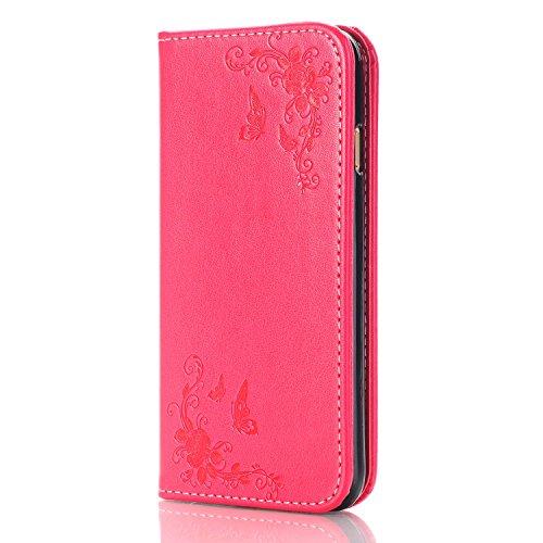 Pour iPhone 7, Rose Flowers en relief, motif en cuir PU JING ( Color : Darkblue ) Red