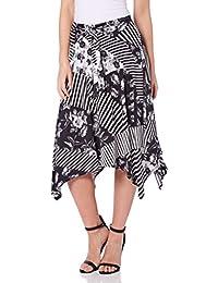 Roman Originals Womens Black Asymmetric Stripe Print Boho Hippy Loose Flared Skirt Everyday Holiday Summer Work - Ladies