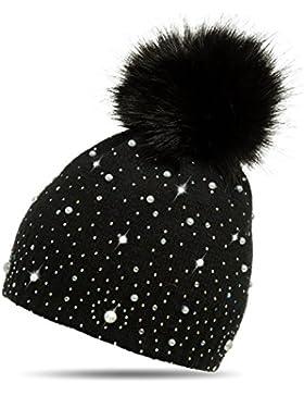 CASPAR MU143 Damen Fein Strick Winter Mütze mit Fellbommel
