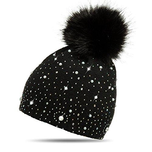 Caspar MU143 Damen Fein Strick Winter Mütze mit Fellbommel, Farbe:schwarz, Größe:One Size