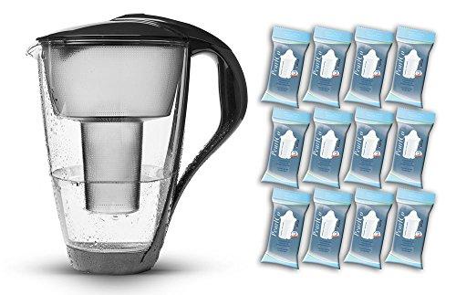 PearlCo Glas-Wasserfilter (anthrazit) - Jahres-Paket inkl. 12 classic Filterkartuschen (kompatibel mit Brita classic)