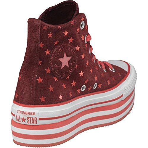 Converse Ladies Hi Platform Trainers Red/White/Pink (UK 5.5, EU 38) (Converse-plattform)