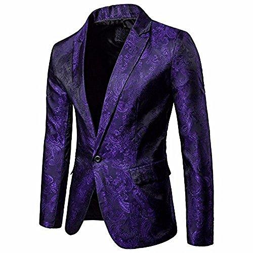 Logobeing Chaqueta de Traje para Hombre, Hombres de Encanto Casual Un Botón Apto Traje Blazer Chaqueta de Abrigo Tops (XL, Púrpura)