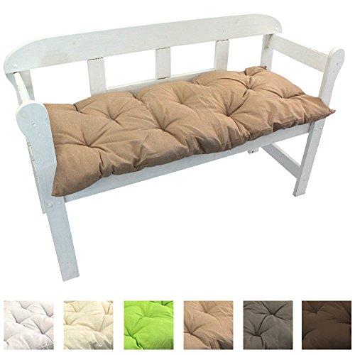 Gartenbank-Auflage Uni Auflage-kissen für Bänke und Gartenschaukel Sitzkissen für Bank Sitzpolster 8 cm dick, Farbe:Beige, Größe:120 x 50 x 8 cm