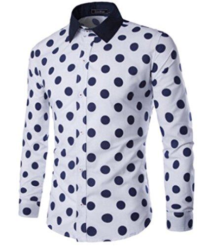 Men's Blue Stripe Access Long Sleeve Casual Shirts white