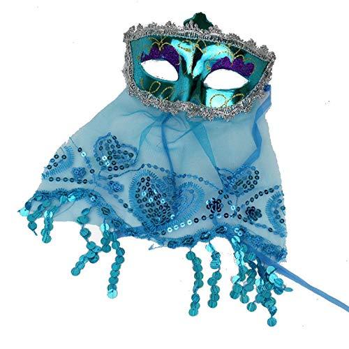Piccoli monelli mascherina veneziana donna sexy in blu maschera venezia carnevale con velo in pizzo