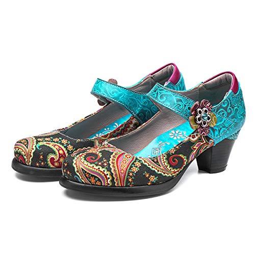 Camfosy Damen Leder Pumps,Frauen Mary Jane Schuhe Handgefertigt Mokassins Elegant Loafers Bootsschuhe Bequem Halbschuhe Slip-Ons Lederschuhe Blau 39 EU