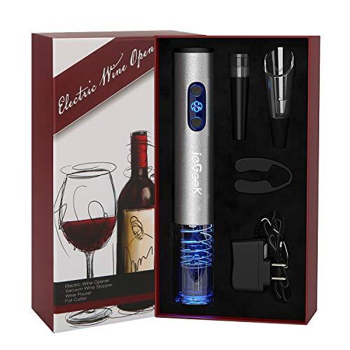 Iegeek apribottiglie per vino elettrico, cavatappi elettrico con batteria ricaricabile, taglia-lamina, versatore vino, tappo sottovuoto, il regalo ideale per tutti gli amanti del vino, grigio.