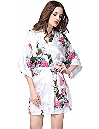 JYSPORT Albornoz Estampado Floral Pijamas Bata Verano Mujer Kimono Lencería Satén Albornoces (white, M)