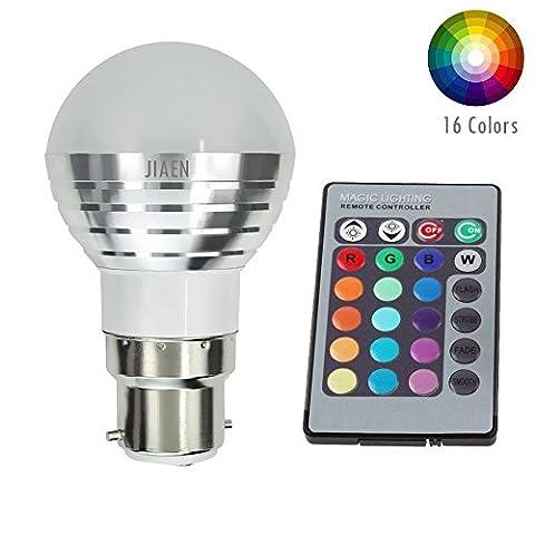 e-jiaen Base à culot standard B223W Ampoule LED RGB 16Couleurs Changeantes Dimmable 3W LED Ampoule Lampe Lune avec télécommande IR, 85–265V AC