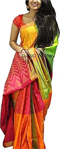 Shreeji Ethnic Women's Cotton Silk Printed Saree With Printed Blouse Piece