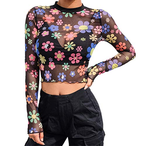 WHSHINE Frauen Langarm Drucken Casual Rollkragen Bluse Top Pullover Shirt Damen Long Sleeve Stehkragen Short Kleiner Engel Print Crop Tops