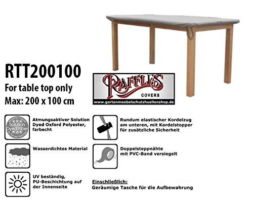 Raffles Covers RTT200100 Schutzhülle für Tischplatte 200 x 100 cm Gartentisch Tischplatten Abdeckung, Tischplattenhaube