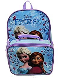 Disney Frozen Anna Elsa Classic Designed Girls Backpack with Detachable Insulated Lunch Kit 15 Inch