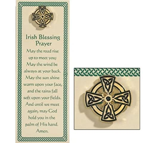 Irish Blessing Prayer Holy Card Bookmark with Celtic Cross Lapel Pin Religious Gift Set by Christian Brands