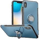 anccer Hülle Für iPhone XS Max, Metall Ringhalter, 360 ° & 180 ° Two-Dimension Rotation drehbar Slim Soft TPU + PC Schutzhülle mit Magnetischer Handyhalter Auto Handyhülle (Ring Grün)