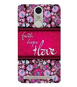 Faith Hope Love 3D Hard Polycarbonate Designer Back Case Cover for Lenovo Vibe K5 Note