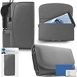 iTALKonline Pantech Vega EX IM-A820L Grey PREMIUM PU Leather Horizontal Executive Side Pouch Case Cover Holster with Belt Loop Clip and Magnetic Closure and 1000 mAh Coiled In Car Charger LED Indicator and Overload Protection