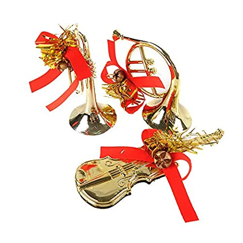 Christmas Decoration Christmas Tree Ornaments Bling Bling Musical Instrument Shape Set Of 3(Gold)