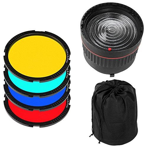 FOTGA NG-10X Bowens Berg Studio Light Fokus Objektiv + 4 Farbfilter Fuer Flash-LED-Licht