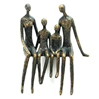 Sitting Family Shelf Sculpture in Bronze Finish