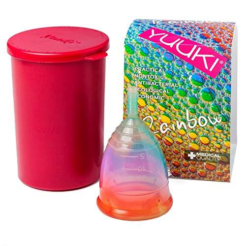 Menstruationstasse YUUKI soft large (Größe 2) Rainbow Jolly aus medizinischem Silikon